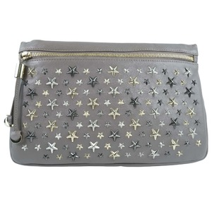 JIMMY CHOO Star Studs 143ZENA Calf Gray Ladies Clutch Bag