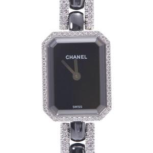 CHANEL Premiere Bezel Breath Diamond H2147 Ladies K18 White Gold Ceramic Watch Quartz Black Dial