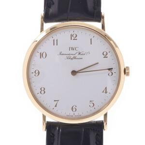 IWC SCHAFFHAUSEN Schaffhausen Portofino 2008 Boys Yellow Gold Leather Watch Manual winding White dial