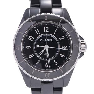CHANEL J12 H5695 Boys Ceramic Stainless Steel Watch Quartz Black Dial