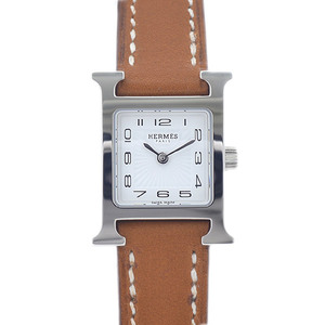 Hermes H Watch Ladies White Dial Stainless Steel Leather Belt Quartz HH1.110