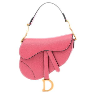Christian Dior Dior saddle bag leather pink matt gold hardware