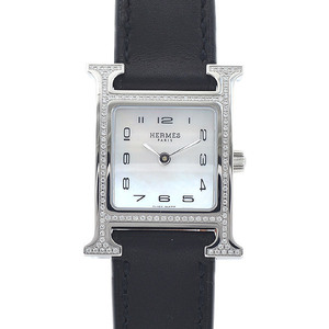 Hermes H Watch Ladies Shell Dial Diamond Bezel Stainless Steel Leather Quartz HH1.235