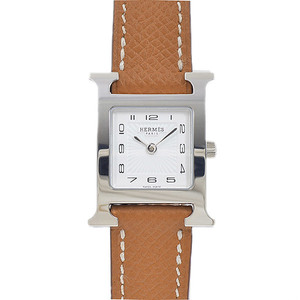Hermes H Watch Ladies White Dial Sunbeam Stainless Steel Quartz HH1.210