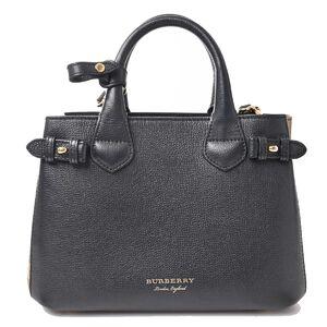 Burberry BURBERRY Leather Small Banner Bag 2WAY Handbag Black
