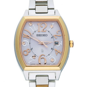 Seiko Lucia Ladies Watch SSVW048 (1B22-0BB0) Stainless Steel Pink Arabian Dial
