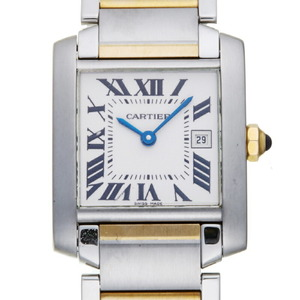 Cartier Tank Francaise MM Ladies Men's Watch W51012Q4 Stainless Steel Ivory Roman Dial