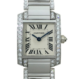 Cartier Tank Francaise SM Side Diamond Ladies Watch WE1002SF 750 White Gold Ivory Roman Dial