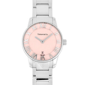 Tiffany TIFFANY & Co. Atlas 2-Hand Stainless Steel Ladies Watch Quartz Pink Dial