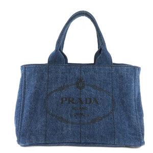 Prada Canapa Tote Bag Denim Ladies