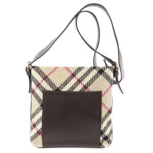 Burberry Nova Check Shoulder Bag Wool Leather Ladies