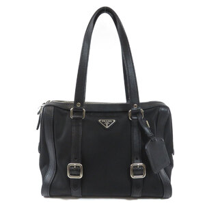 Prada Logo Plate Handbag Nylon Ladies