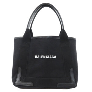 Balenciaga 339933 Navy Cover S Tote Bag Canvas Leather Ladies