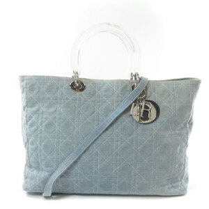 Christian Dior Lady 2WAY Handbag Denim Women's