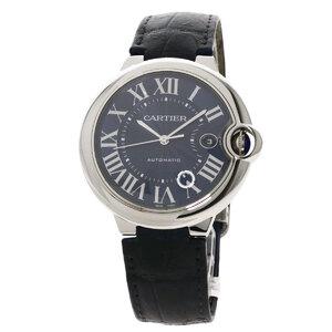 Cartier WSBB0025 Baron Blue Watch Stainless Steel Leather Men