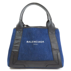 Balenciaga 339933 Navy Cover S Tote Bag Denim Leather Ladies