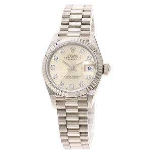 Rolex 69179G Datejust 10P Diamond Watch K18 White Gold Ladies