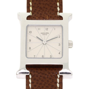 Hermes HH1.210 H Watch Stainless Steel Leather Ladies