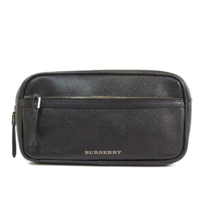 Burberry logo metal fittings second bag leather men's