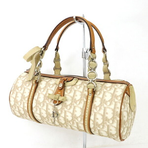 Christian Dior Trotter Off White Beige PVC Leather Handbag Ladies