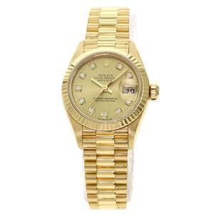 Rolex 69178G Datejust 10P Diamond Watch K18 Yellow Gold Ladies