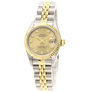 Rolex 69173G Datejust 10P Diamond Watch Stainless Steel K18 Yellow Gold Ladies