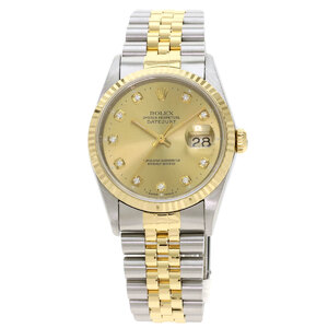 Rolex 16233G Datejust 10P Diamond Watch Stainless Steel K18 Yellow Gold Mens