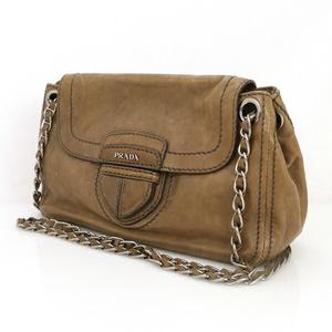 Prada PRADA Gray Leather Chain Shoulder Bag Ladies