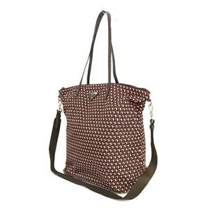 Prada PRADA 1BG189 Total Pattern Brown Pink Nylon Print Tote Bag 2way Ladies Men