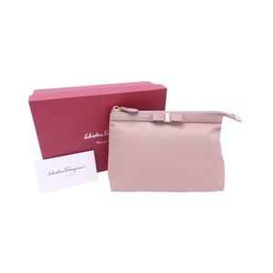 Salvatore Ferragamo Pouch Vala Ribbon Pink Beige Nylon Leather Multi Case