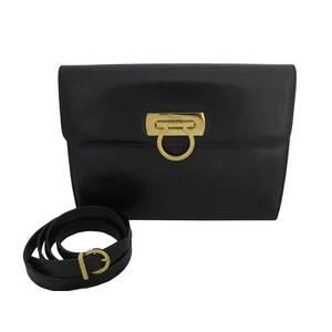 Salvatore Ferragamo Bag Gancio Dark Brown Gold Hardware Leather Shoulder Ladies