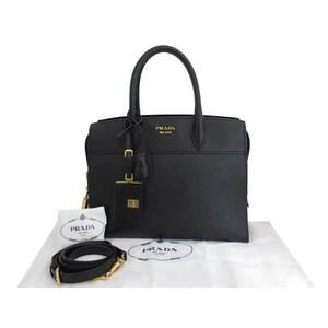 Prada 2Way Bag Esplanade Black Saffiano Leather Handbag Shoulder