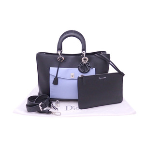 Christian Dior 2Way Bag Diorissimo Black Blue Red Leather Silver Hardware Handbag Shoulder