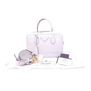 Prada 2Way Bag Mirage White Light Blue Leather Gold Hardware Handbag Shoulder