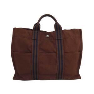 Hermes Bag Fool Toe MM Brown Navy Silver Hardware Cotton Handbag Tote Women's Men's