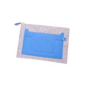 Hermes Clutch Bag Gray Blue Felt Leather Pouch Women's Men's
