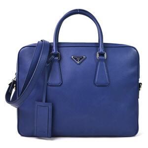 Prada Handbag Shoulder Bag 2Way Business SAFFIANO TRAVEL BLUETTE Leather Silver Hardware Men's 2VE368