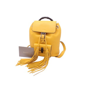 Gucci Backpack Bamboo Tassel Yellow Leather