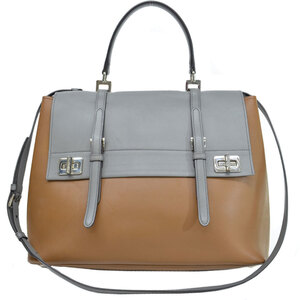 Prada Bag Brown Gray Silver Leather Handbag Shoulder Ladies