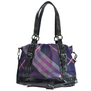 Burberry BURBERRY Bag Purple Pink Black Nylon Patent Leather Shoulder 2Way Ladies