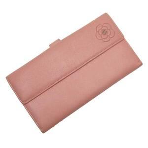 Chanel W Hook Bi-Fold Wallet Camellia Coco Mark Leather