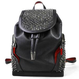 Christian Louboutin rucksack backpack spike studs E plorafunk Backpack black red leather men's