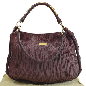 Burberry BURBERRY Bag Brown Gold Leather Shoulder 2Way Ladies