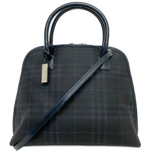Burberry 2WAY Bag Navy Check Handbag PVC Leather