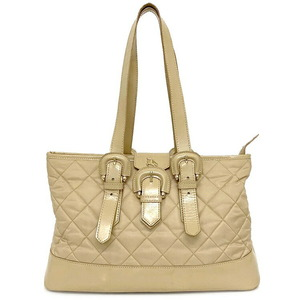 Burberry Tote Bag Beige Quilted Nylon Leather Women's