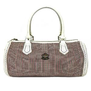 Burberry Mini Boston Bag White Red Check Blue Label Handbag Canvas Leather