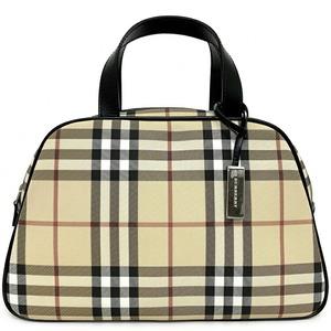 Burberry Handbag Beige Check Nova Mini Boston Bag PVC Leather