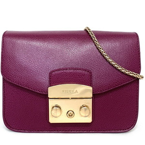 Furla Shoulder Bag Purple Metropolitan 250975 Pochette Leather