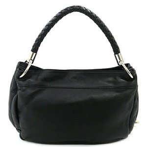 Furla One Shoulder Bag Black Silver Hardware Leather Ladies