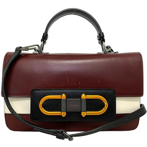 Furla 2WAY Bag Bordeaux White Black Handbag Leather